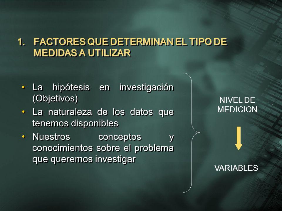 1.FACTORES QUE DETERMINAN EL TIPO DE MEDIDAS A UTILIZAR La hipótesis en investigación (Objetivos) La naturaleza de los datos que tenemos disponibles N