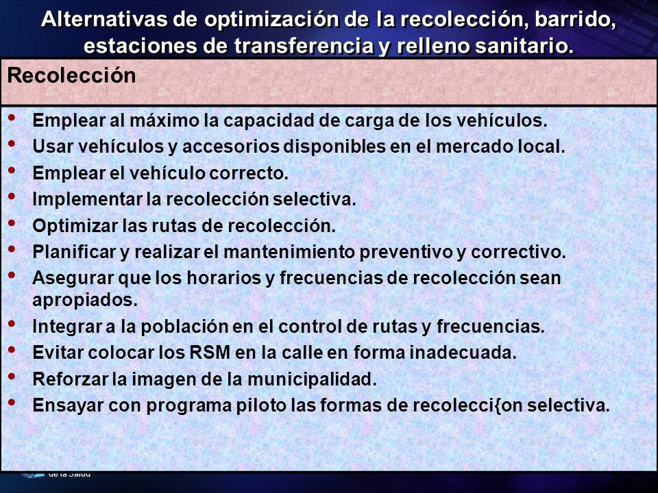 Organización Panamericana de la Salud Alternativas de optimización de la recolección, barrido, estaciones de transferencia y relleno sanitario. Recole