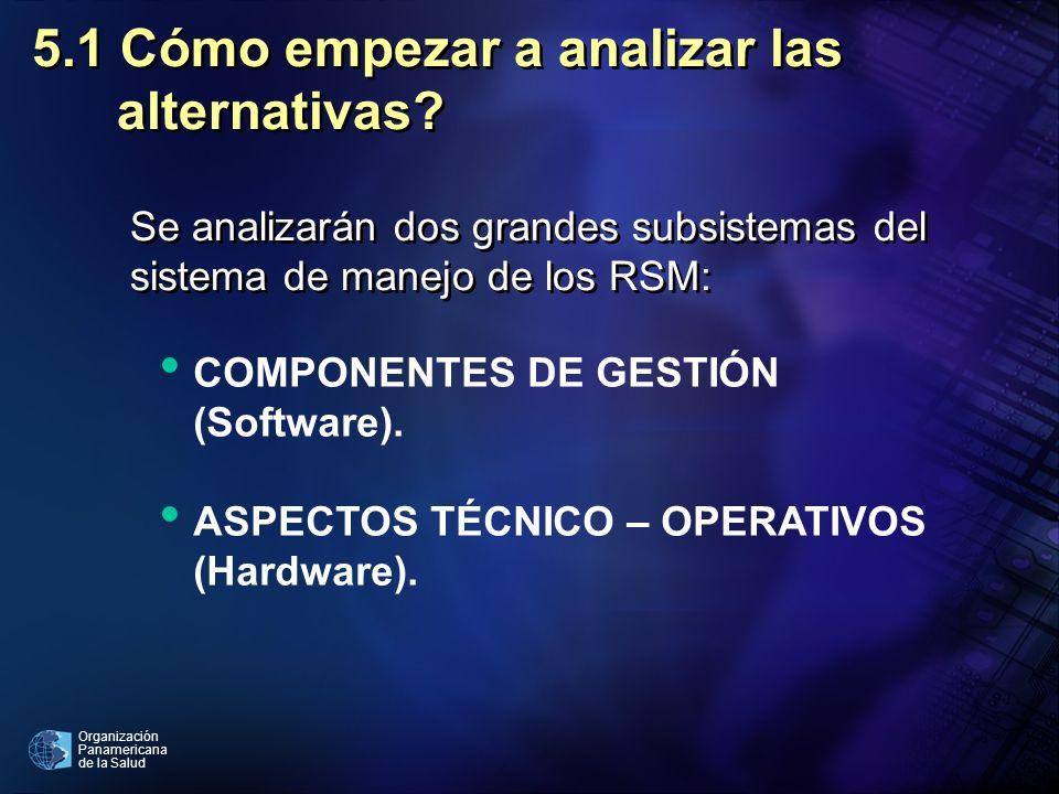 Organización Panamericana de la Salud 5.2 Subsistema de gestión del manejo de los RSM 5.2.1 Aspectos institucionales.