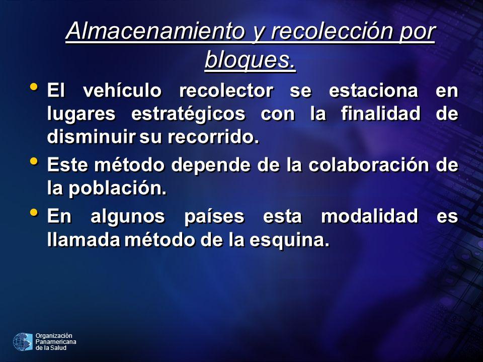 Organización Panamericana de la Salud Almacenamiento y recolección por bloques. El vehículo recolector se estaciona en lugares estratégicos con la fin