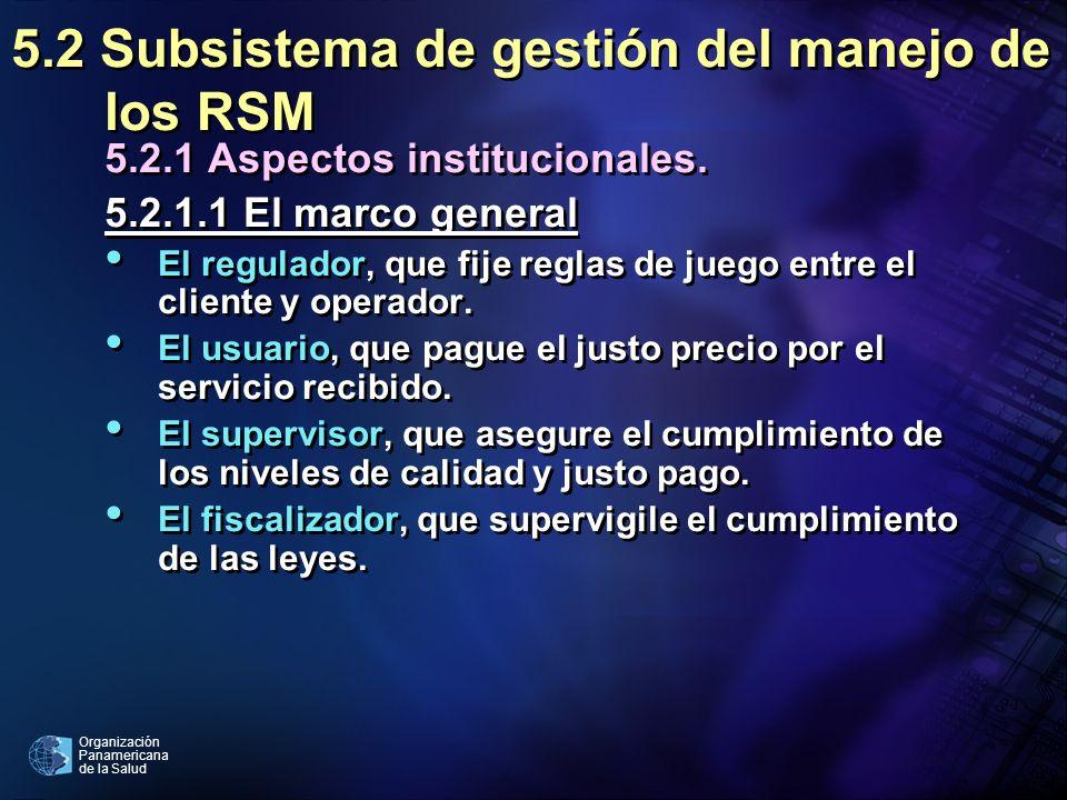 Organización Panamericana de la Salud 5.2 Subsistema de gestión del manejo de los RSM 5.2.1 Aspectos institucionales. 5.2.1.1 El marco general El regu
