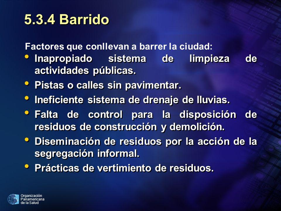 Organización Panamericana de la Salud 5.3.4 Barrido Inapropiado sistema de limpieza de actividades públicas. Pistas o calles sin pavimentar. Ineficien