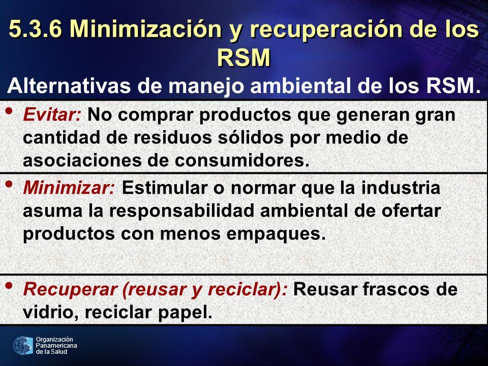 Organización Panamericana de la Salud 5.3.6 Minimización y recuperación de los RSM Evitar: No comprar productos que generan gran cantidad de residuos
