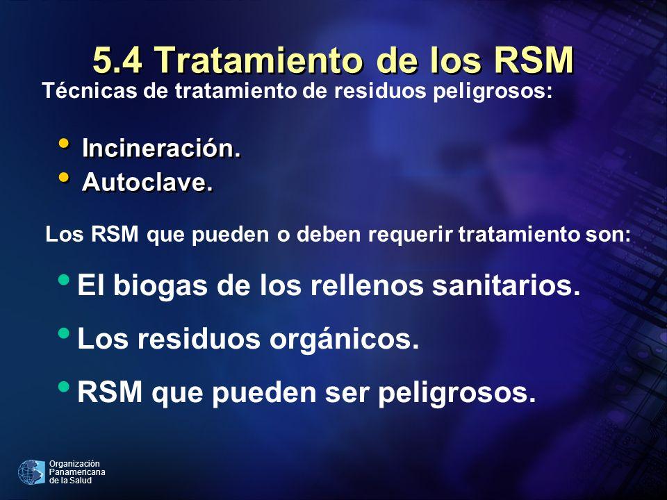 Organización Panamericana de la Salud 5.4 Tratamiento de los RSM Incineración. Autoclave. Incineración. Autoclave. Técnicas de tratamiento de residuos