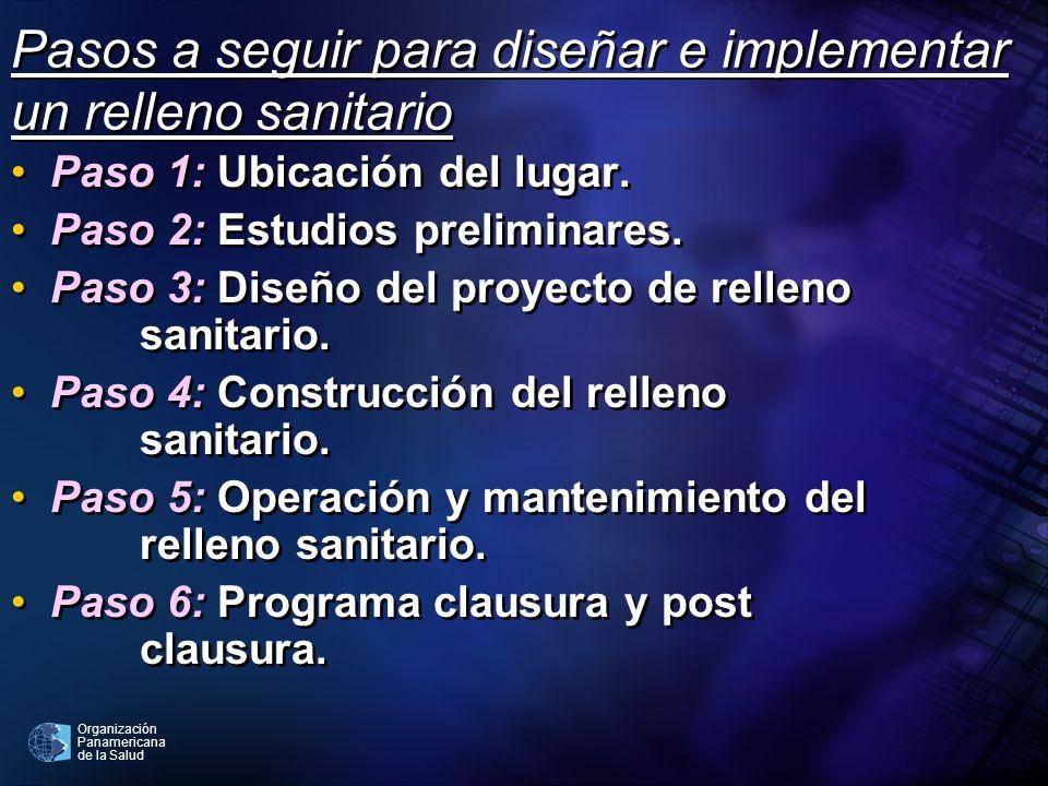 Organización Panamericana de la Salud Pasos a seguir para diseñar e implementar un relleno sanitario Paso 1: Ubicación del lugar. Paso 2: Estudios pre