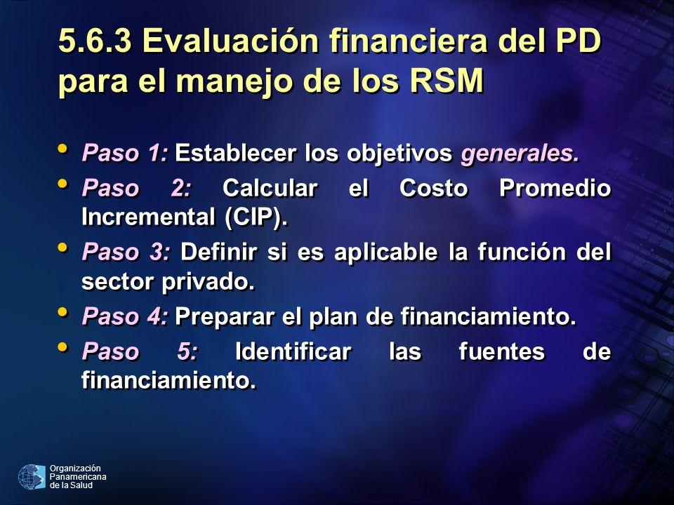 Organización Panamericana de la Salud 5.6.3 Evaluación financiera del PD para el manejo de los RSM Paso 1: Establecer los objetivos generales. Paso 2: