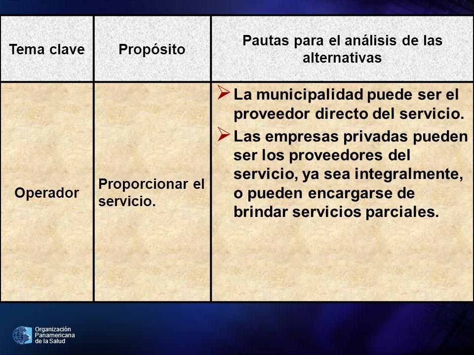 Organización Panamericana de la Salud Tema clavePropósito Pautas para el análisis de las alternativas Operador Proporcionar el servicio. La municipali