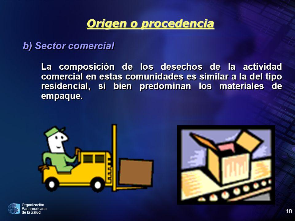 Organización Panamericana de la Salud 10 b) Sector comercial La composición de los desechos de la actividad comercial en estas comunidades es similar