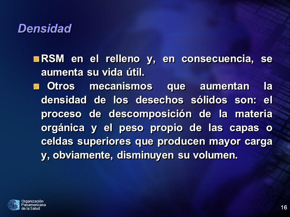 Organización Panamericana de la Salud 16 Densidad RSM en el relleno y, en consecuencia, se aumenta su vida útil. Otros mecanismos que aumentan la dens
