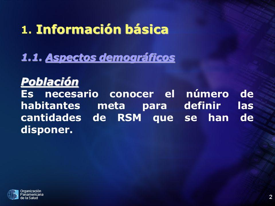 Organización Panamericana de la Salud 2 Información básica 1. Información básica 1.1. Aspectos demográficos Población Es necesario conocer el número d