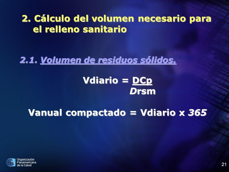 Organización Panamericana de la Salud 21 2. Cálculo del volumen necesario para el relleno sanitario 2.1. Volumen de residuos sólidos. Vdiario = DCp Dr