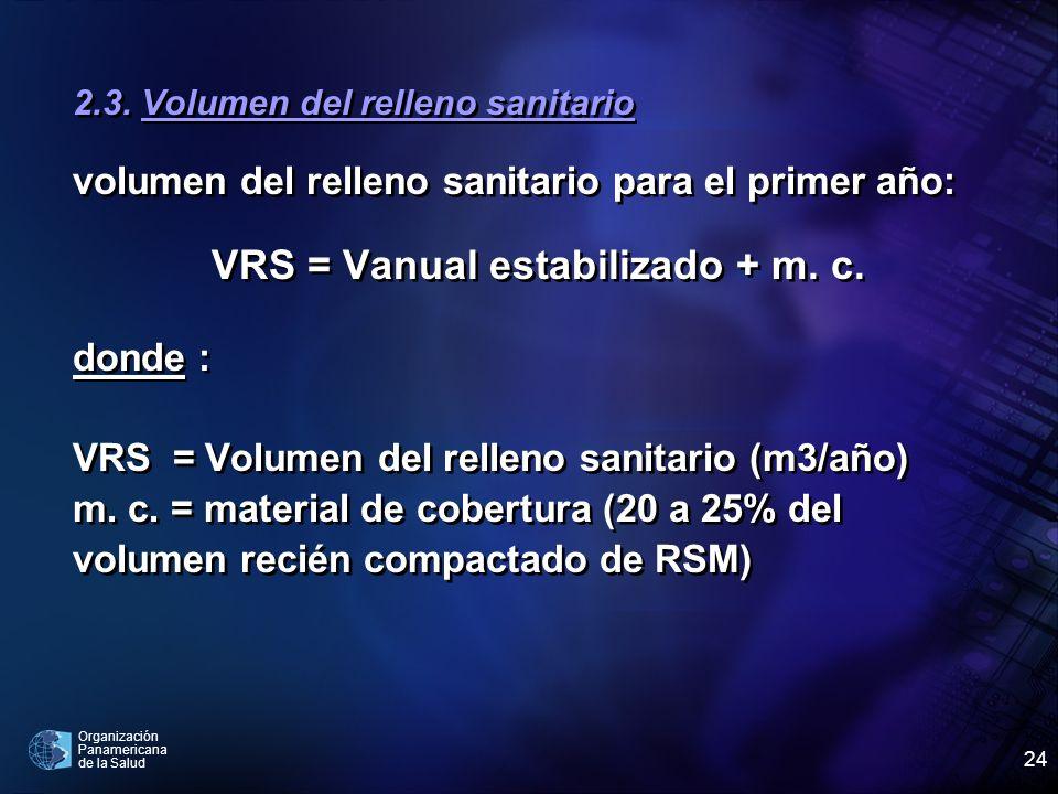 Organización Panamericana de la Salud 24 2.3. Volumen del relleno sanitario volumen del relleno sanitario para el primer año: VRS = Vanual estabilizad