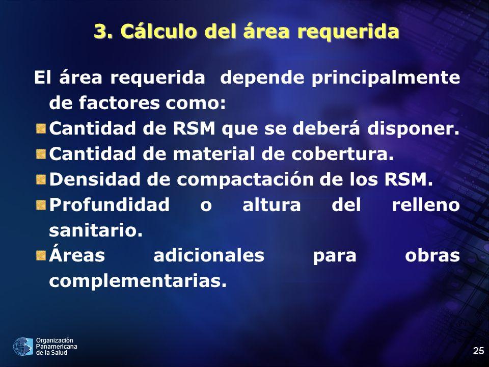 Organización Panamericana de la Salud 25 3. Cálculo del área requerida El área requerida depende principalmente de factores como: Cantidad de RSM que