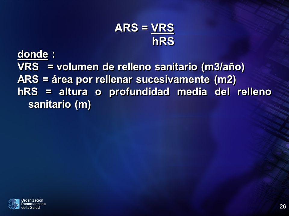 Organización Panamericana de la Salud 26 ARS = VRS hRS donde : VRS = volumen de relleno sanitario (m3/año) ARS = área por rellenar sucesivamente (m2)