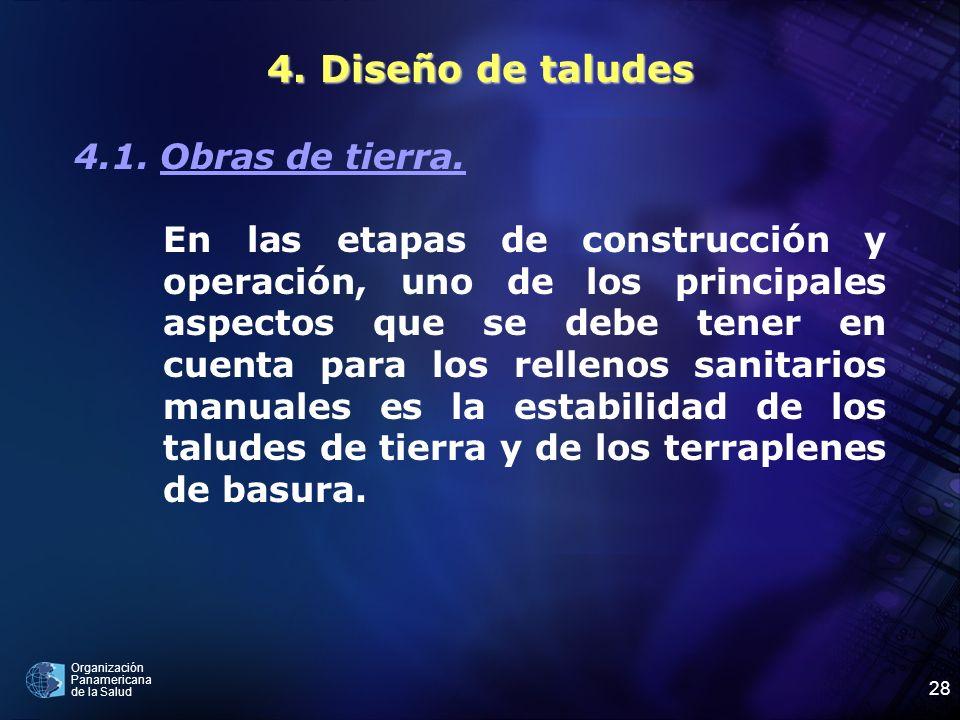 Organización Panamericana de la Salud 28 4. Diseño de taludes 4.1. Obras de tierra. En las etapas de construcción y operación, uno de los principales