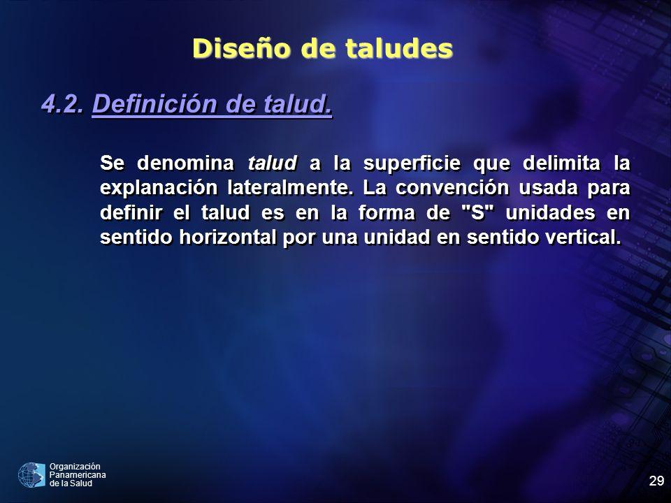 Organización Panamericana de la Salud 29 4.2. Definición de talud. Se denomina talud a la superficie que delimita la explanación lateralmente. La conv