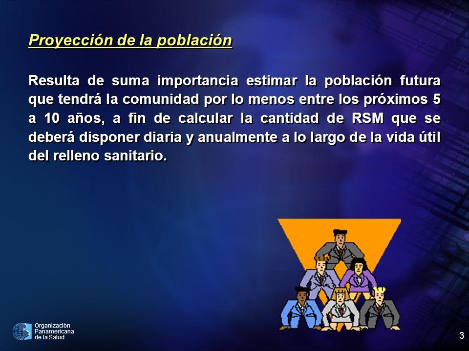 Organización Panamericana de la Salud 3 Proyección de la población Resulta de suma importancia estimar la población futura que tendrá la comunidad por