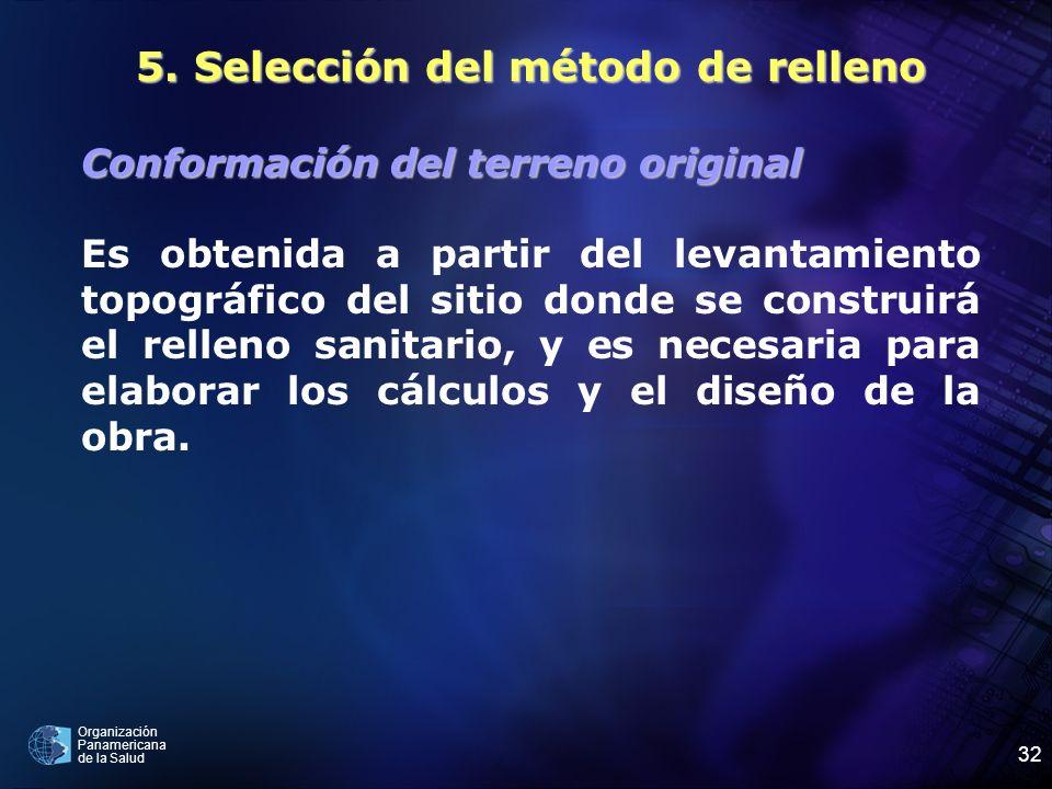 Organización Panamericana de la Salud 32 5. Selección del método de relleno Conformación del terreno original Es obtenida a partir del levantamiento t