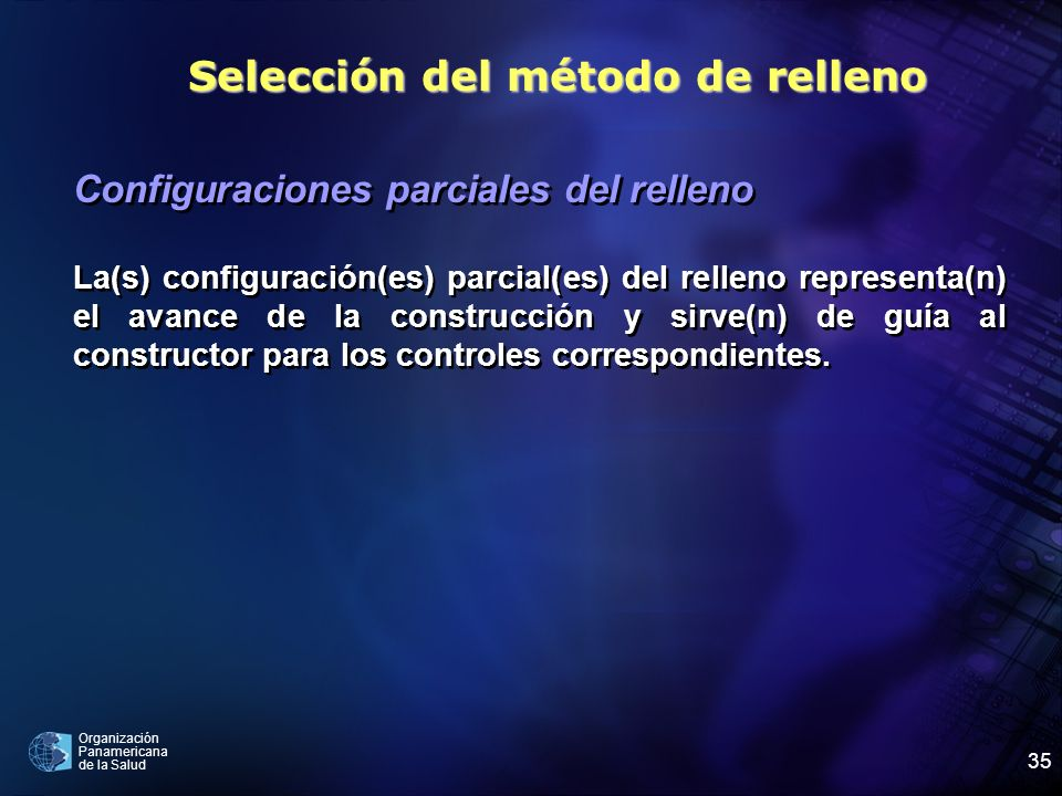 Organización Panamericana de la Salud 35 Configuraciones parciales del relleno La(s) configuración(es) parcial(es) del relleno representa(n) el avance