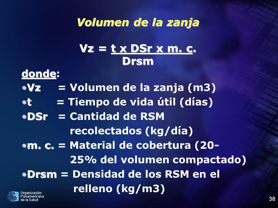 Organización Panamericana de la Salud 38 Volumen de la zanja Vz = t x DSr x m. c. Drsm donde donde: VzVz = Volumen de la zanja (m3) tt = Tiempo de vid