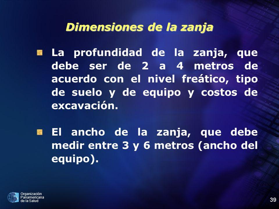 Organización Panamericana de la Salud 39 Dimensiones de la zanja La profundidad de la zanja, que debe ser de 2 a 4 metros de acuerdo con el nivel freá