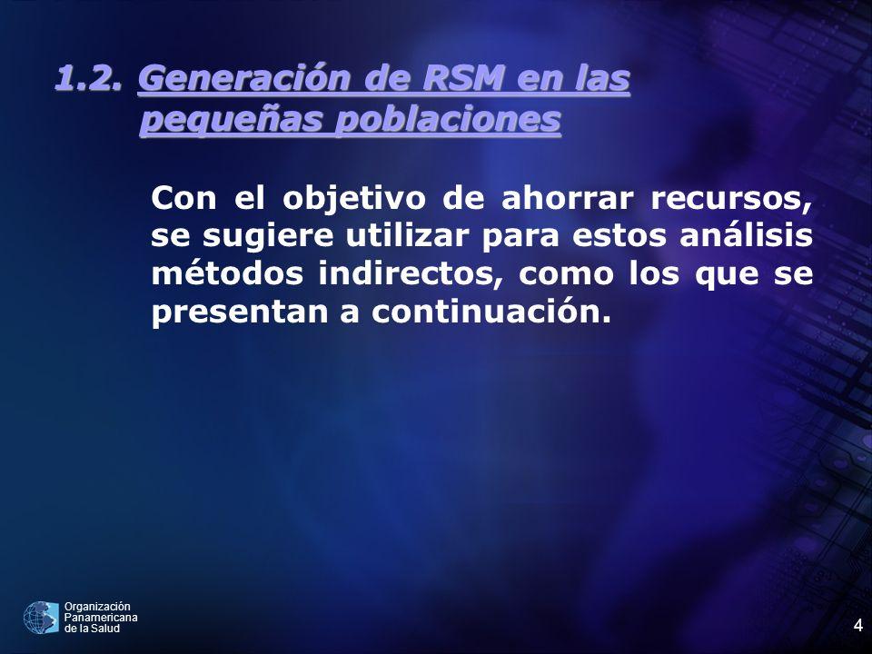 Organización Panamericana de la Salud 4 1.2. Generación de RSM en las pequeñas poblaciones Con el objetivo de ahorrar recursos, se sugiere utilizar pa