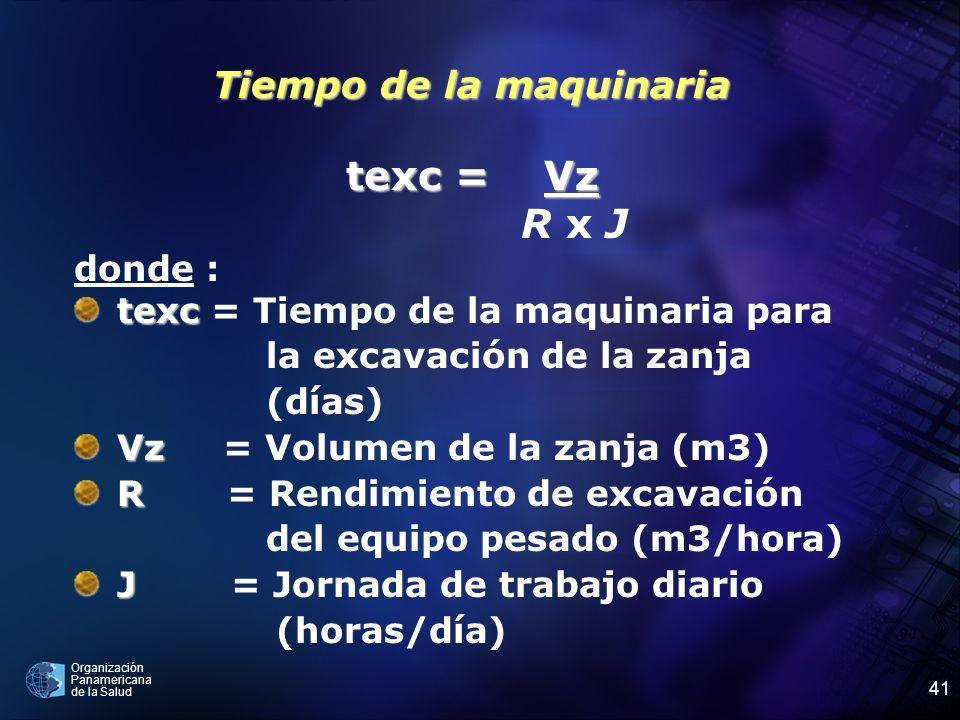 Organización Panamericana de la Salud 41 Tiempo de la maquinaria texc = Vz R x J donde : texc texc = Tiempo de la maquinaria para la excavación de la