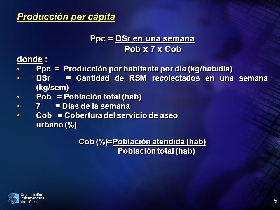 Organización Panamericana de la Salud 5 Producción per cápita Ppc = DSr en una semana Pob x 7 x Cob donde : Ppc = Producción por habitante por día (kg
