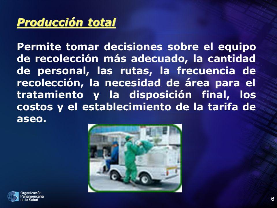 Organización Panamericana de la Salud 6 Producción total Permite tomar decisiones sobre el equipo de recolección más adecuado, la cantidad de personal
