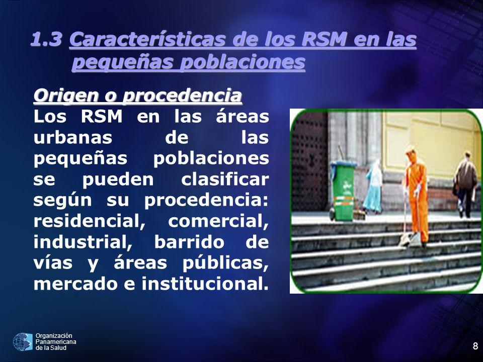 Organización Panamericana de la Salud 8 1.3 Características de los RSM en las pequeñas poblaciones Origen o procedencia Los RSM en las áreas urbanas d