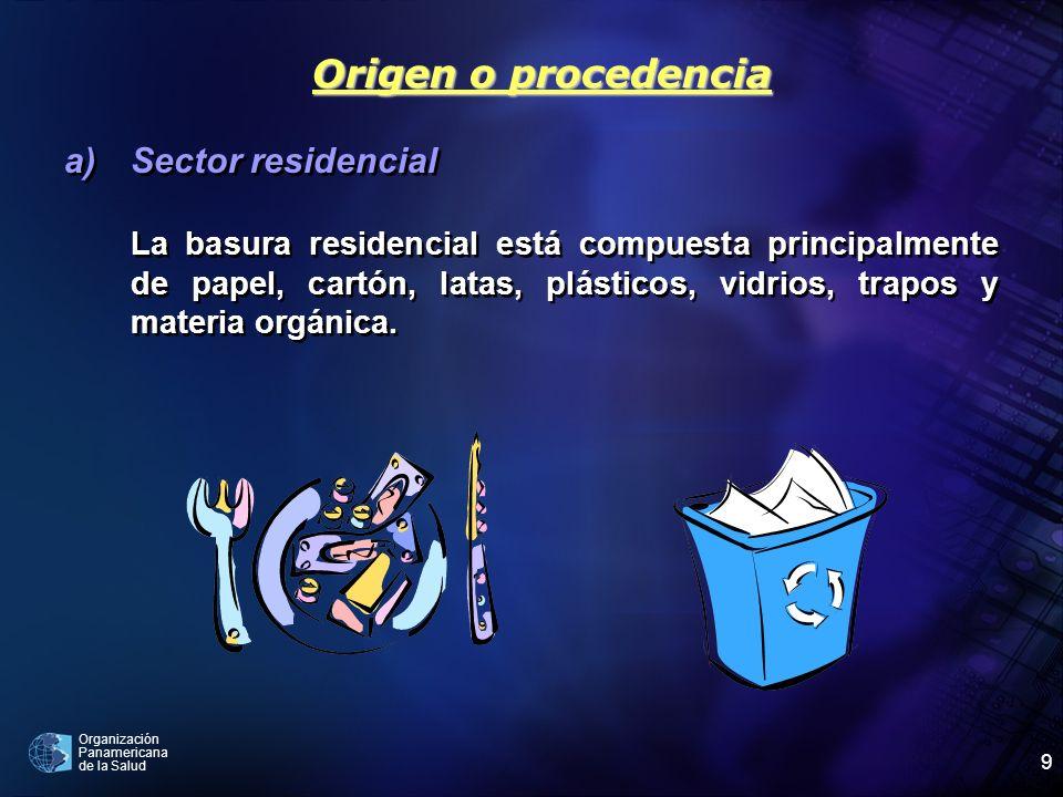 Organización Panamericana de la Salud 9 a)Sector residencial La basura residencial está compuesta principalmente de papel, cartón, latas, plásticos, v