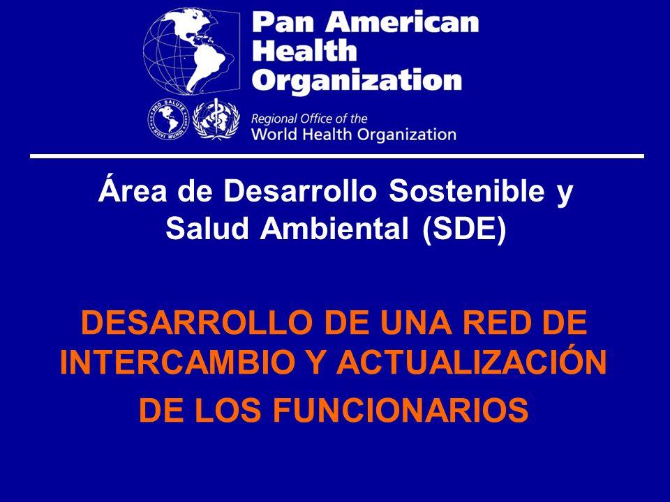 Área de Desarrollo Sostenible y Salud Ambiental (SDE) DESARROLLO DE UNA RED DE INTERCAMBIO Y ACTUALIZACIÓN DE LOS FUNCIONARIOS