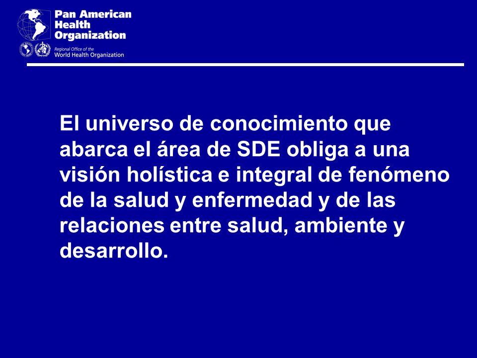 El universo de conocimiento que abarca el área de SDE obliga a una visión holística e integral de fenómeno de la salud y enfermedad y de las relacione