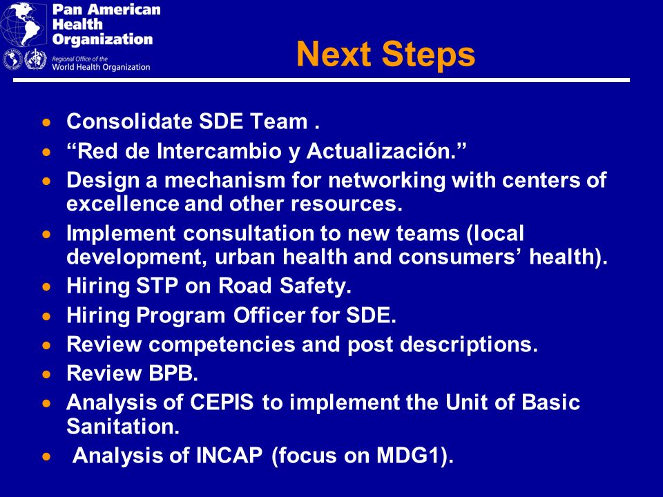 Next Steps Consolidate SDE Team. Red de Intercambio y Actualización.