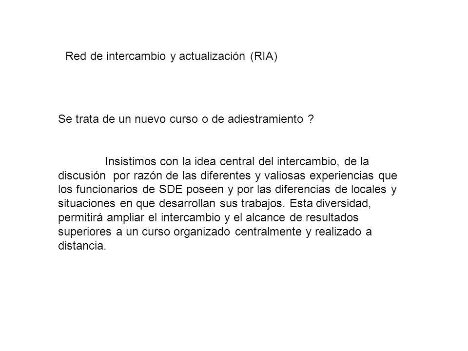 Red de intercambio y actualización (RIA) Solamente funcionarios rde SDE participaran de elas discusiones y del intercambio.
