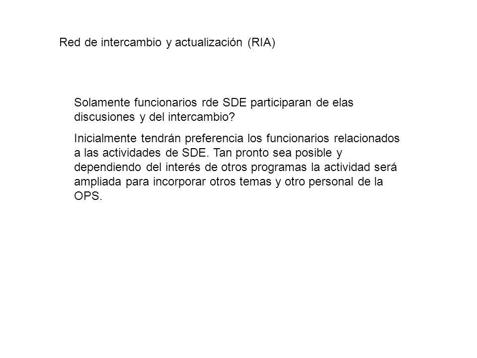 Red de intercambio y actualización (RIA) Solamente funcionarios rde SDE participaran de elas discusiones y del intercambio? Inicialmente tendrán prefe