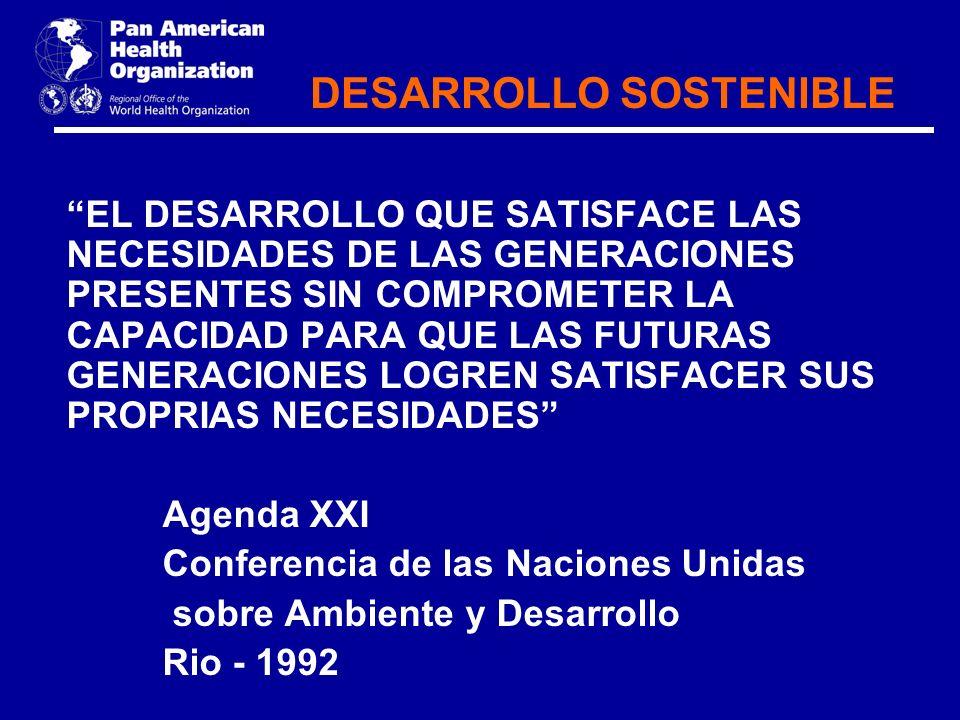 DESARROLLO SOSTENIBLE EL DESARROLLO QUE SATISFACE LAS NECESIDADES DE LAS GENERACIONES PRESENTES SIN COMPROMETER LA CAPACIDAD PARA QUE LAS FUTURAS GENE