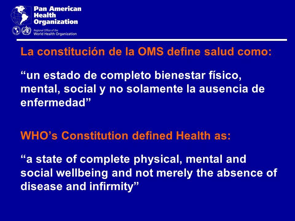 La constitución de la OMS define salud como: un estado de completo bienestar físico, mental, social y no solamente la ausencia de enfermedad WHOs Cons