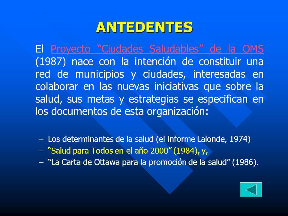 ANTEDENTES El Proyecto Ciudades Saludables de la OMS (1987) nace con la intención de constituir una red de municipios y ciudades, interesadas en colab