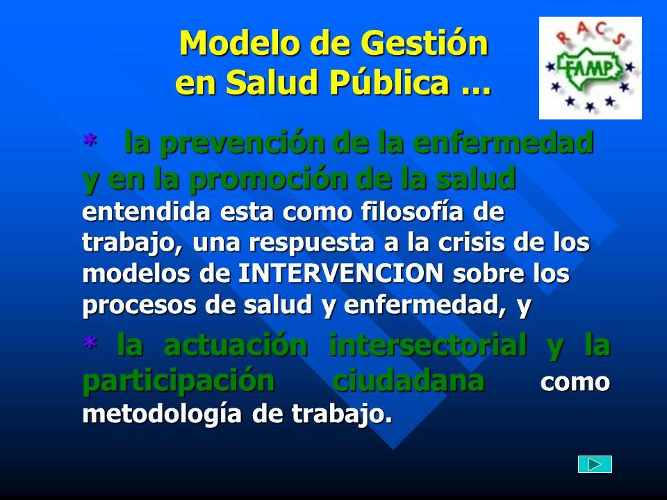 Modelo de Gestión en Salud Pública... * la prevención de la enfermedad y en la promoción de la salud entendida esta como filosofía de trabajo, una res