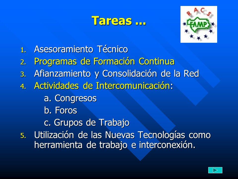 Tareas... 1. Asesoramiento Técnico 2. Programas de Formación Continua 3. Afianzamiento y Consolidación de la Red 4. Actividades de Intercomunicación: