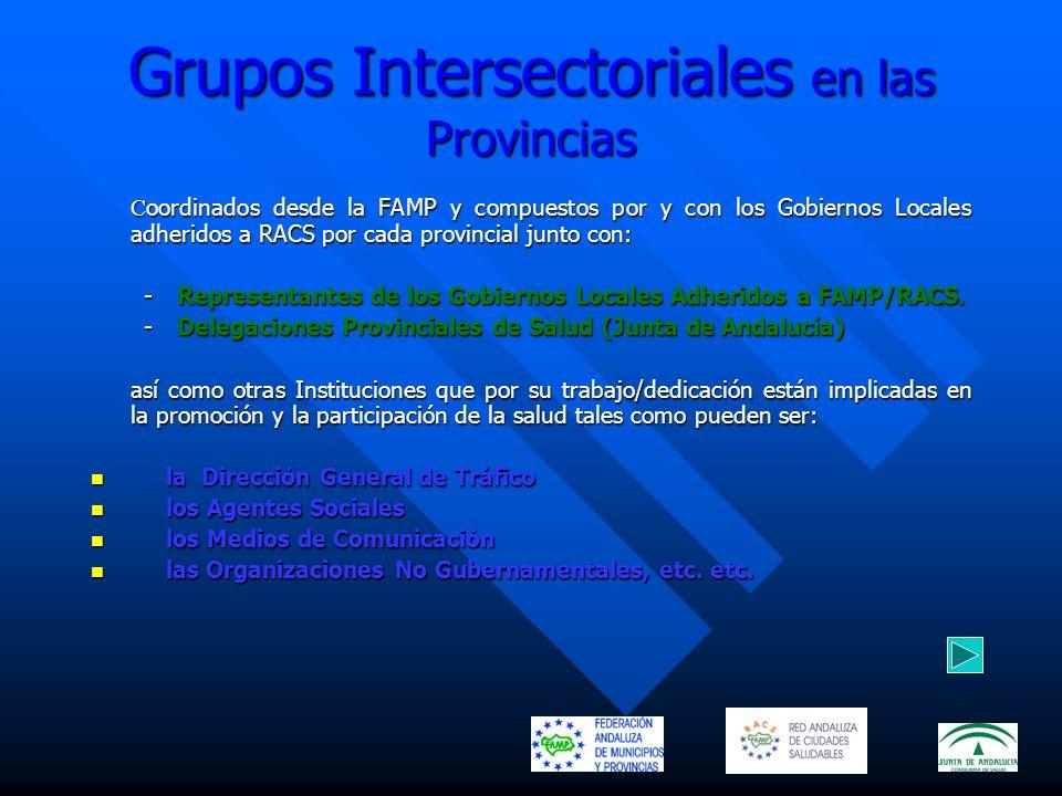 Grupos Intersectoriales en las Provincias C oordinados desde la FAMP y compuestos por y con los Gobiernos Locales adheridos a RACS por cada provincial