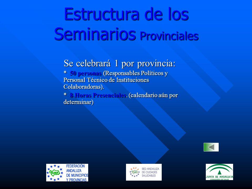 Estructura de los Seminarios Provinciales Se celebrará 1 por provincia: Se celebrará 1 por provincia: * 50 personas (Responsables Políticos y Personal