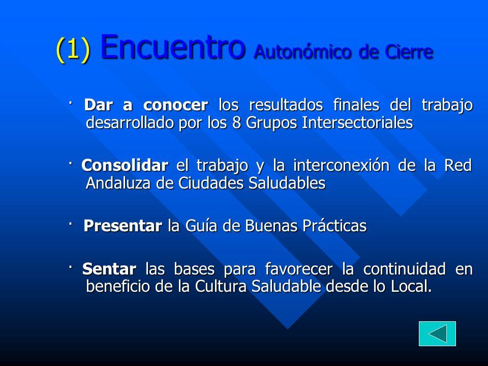 (1) Encuentro Autonómico de Cierre · Dar a conocer los resultados finales del trabajo desarrollado por los 8 Grupos Intersectoriales · Consolidar el t