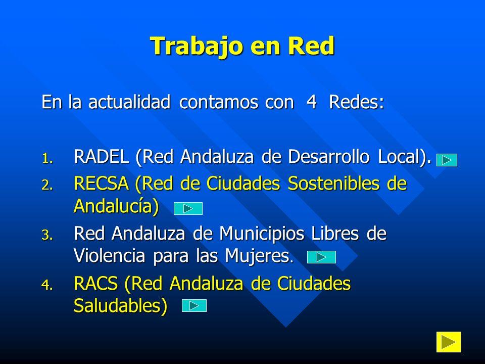 Trabajo en Red En la actualidad contamos con 4 Redes: 1. RADEL (Red Andaluza de Desarrollo Local). 2. RECSA (Red de Ciudades Sostenibles de Andalucía)