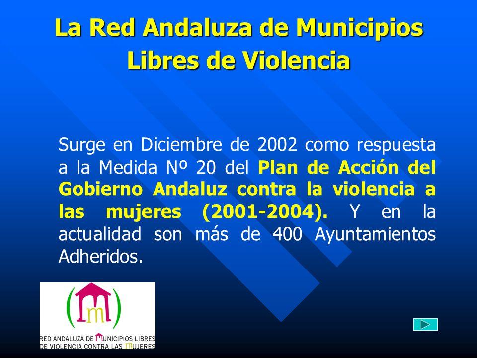 La Red Andaluza de Municipios Libres de Violencia Surge en Diciembre de 2002 como respuesta a la Medida Nº 20 del Plan de Acción del Gobierno Andaluz