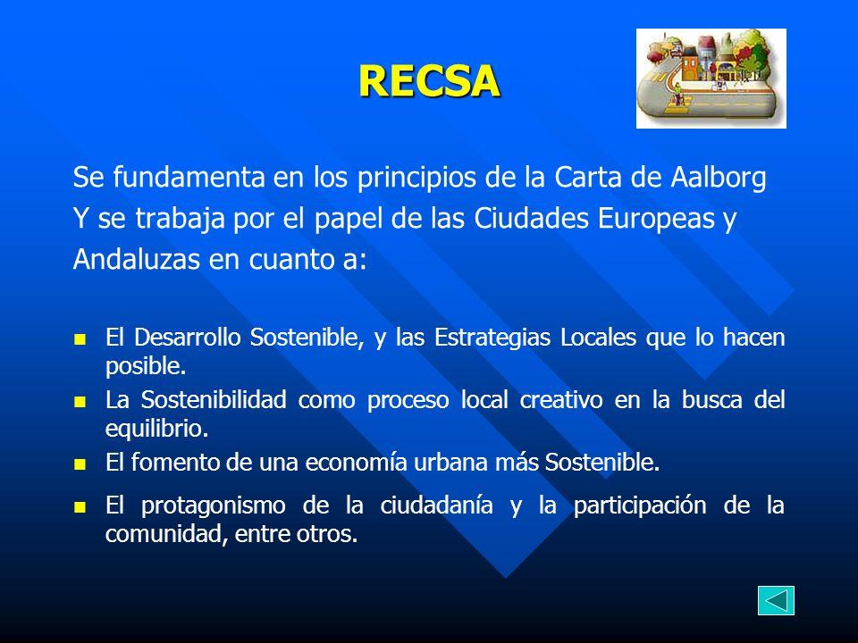 RECSA Se fundamenta en los principios de la Carta de Aalborg Y se trabaja por el papel de las Ciudades Europeas y Andaluzas en cuanto a: El Desarrollo