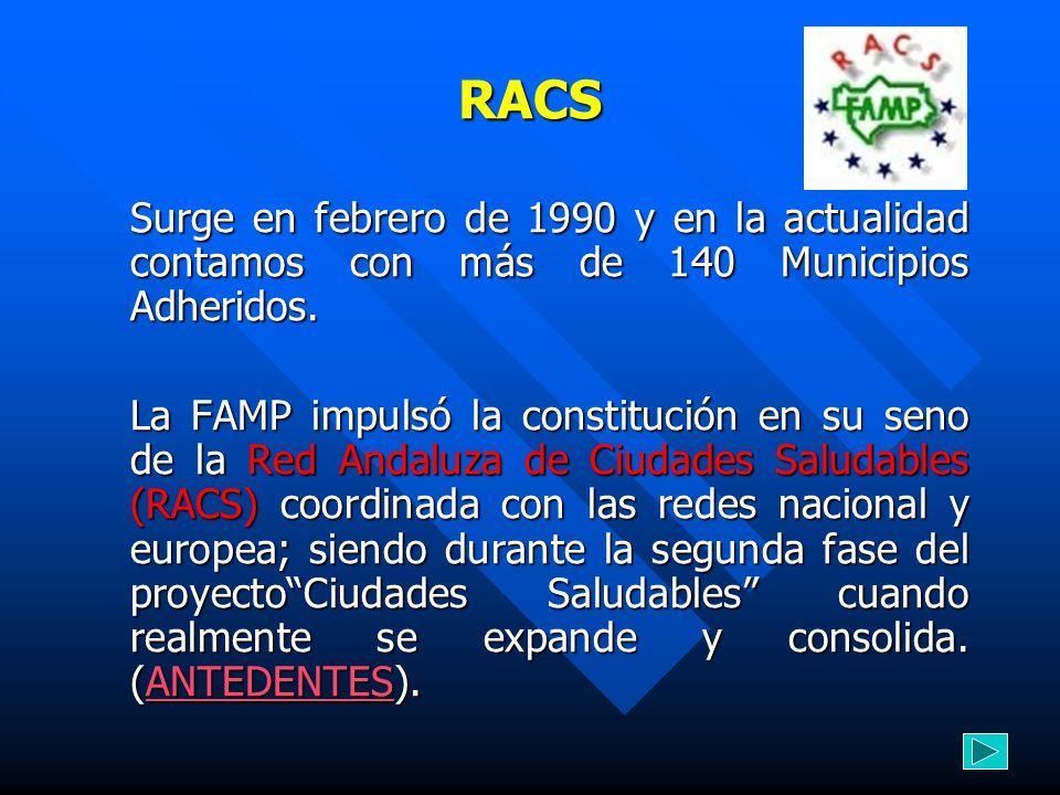 RACS Surge en febrero de 1990 y en la actualidad contamos con más de 140 Municipios Adheridos. La FAMP impulsó la constitución en su seno de la Red An