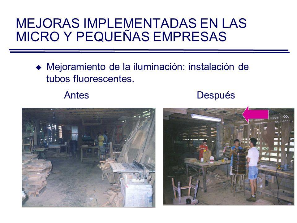AntesDespués Mejoramiento de la iluminación: instalación de tubos fluorescentes.