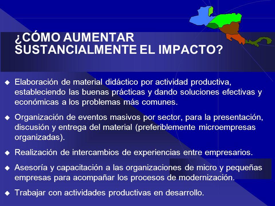 ¿CÓMO AUMENTAR SUSTANCIALMENTE EL IMPACTO? Elaboración de material didáctico por actividad productiva, estableciendo las buenas prácticas y dando solu